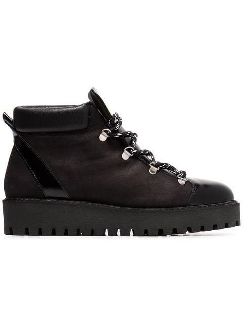 Ganni Black Alma Shearling Lined Leather Hiking Boots - Farfetch
