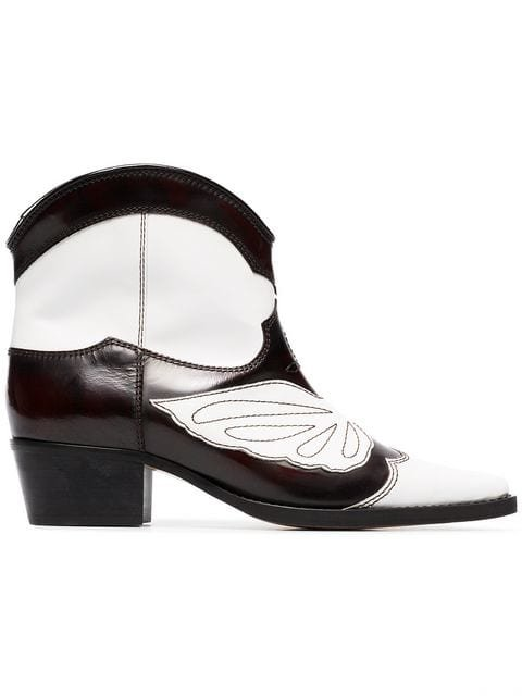 Ganni Black And White Meg 45 Leather Cowboy Boots - Farfetch