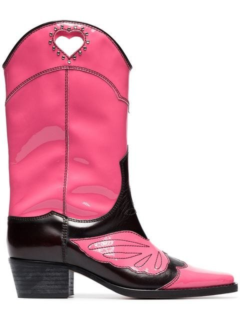 Ganni Pink And Black Marlyn 45 Leather Cowboy Boots - Farfetch