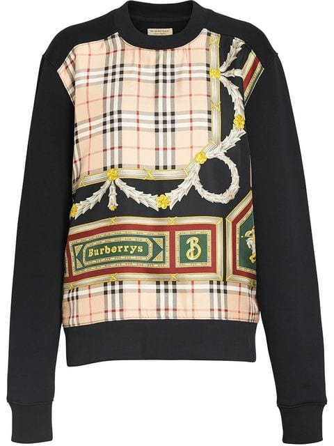 Burberry Archive Scarf Print Panel Sweatshirt - Farfetch