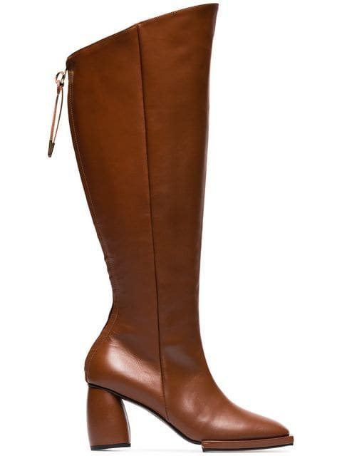 Reike Nen Brown Square Toe 90 Leather Knee High Boots - Farfetch