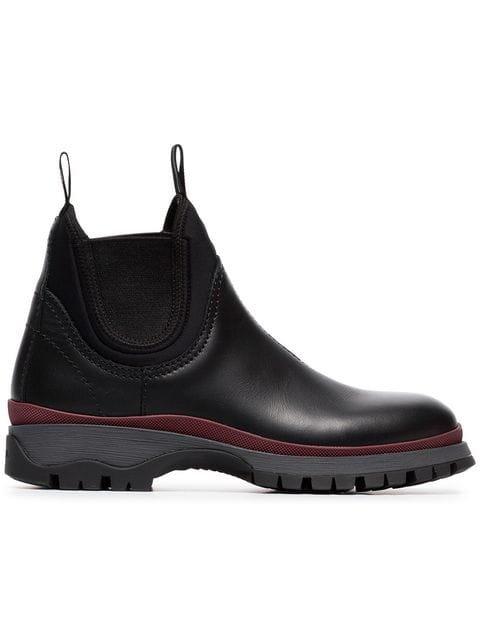 Prada Black 30 Chunky Leather Chelsea Boots - Farfetch