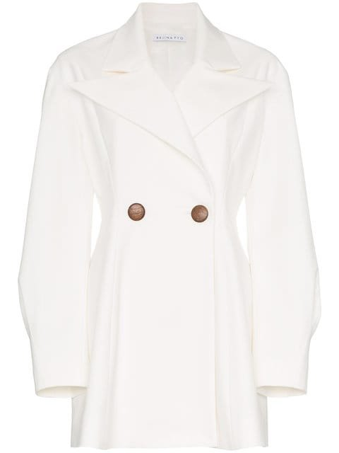 Rejina Pyo Double Breasted Cotton Blend Long Sleeve Blazer - Farfetch