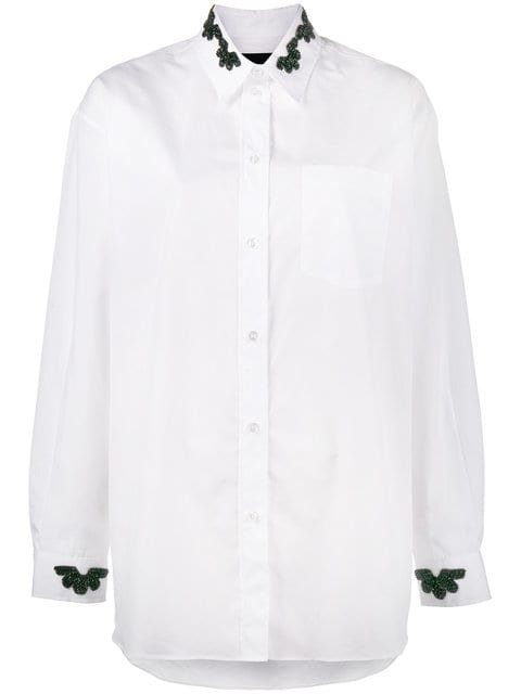 Simone Rocha Shirt With Beaded Collar And Cuffs - Farfetch