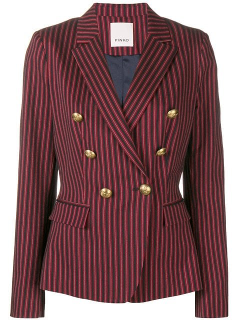 Pinko Double Breasted Pinstripe Blazer  - Farfetch