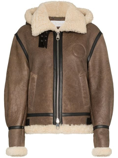 Chloé Hooded Shearling And Leather Aviator Jacket - Farfetch