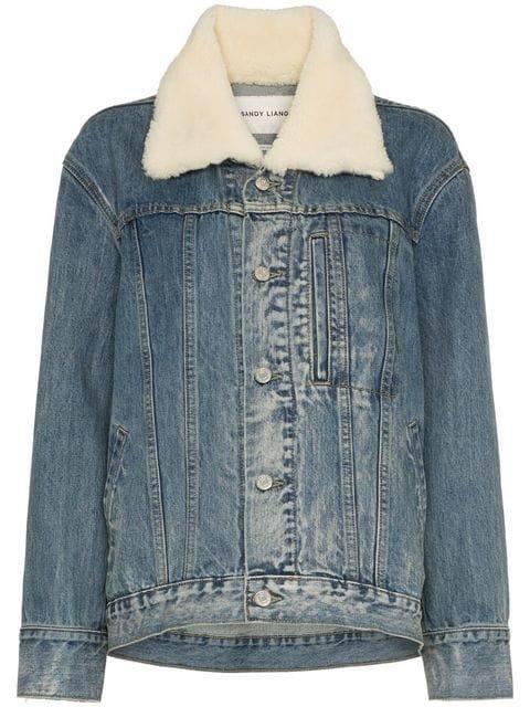 Sandy Liang York Shearling Collar Denim Jacket - Farfetch