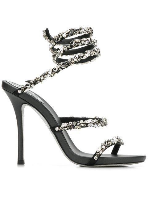 René Caovilla Embellished Wraparound Sandals - Farfetch