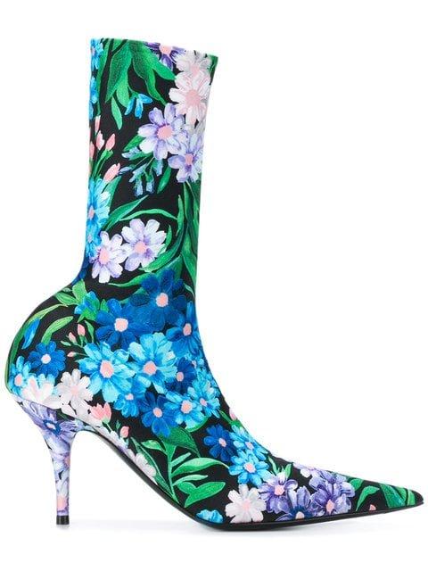 Balenciaga Floral-print Knife Booties - Farfetch