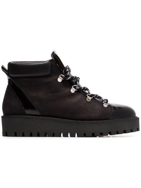 Ganni Black Alma Shearling Lined Leather Hiking Boots - Farfetch