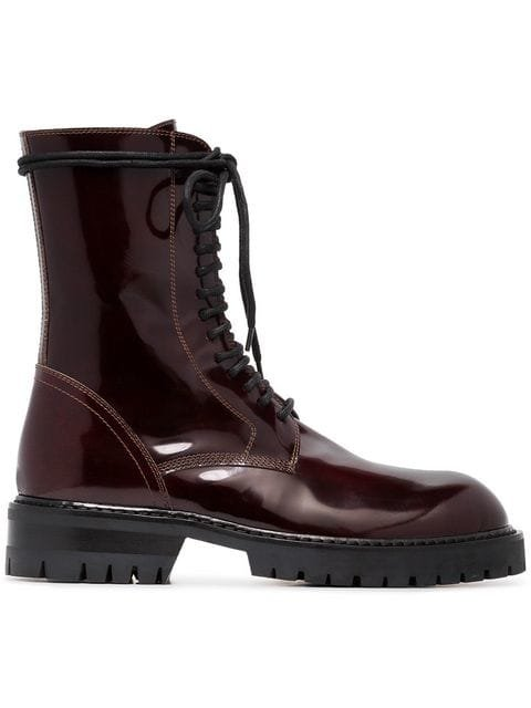 Ann Demeulemeester Burgundy 50 Lace-up Leather Boots - Farfetch