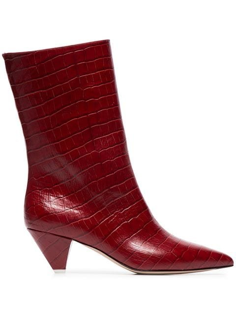 Attico Croc-embossed Low-heeled Leather Boots - Farfetch