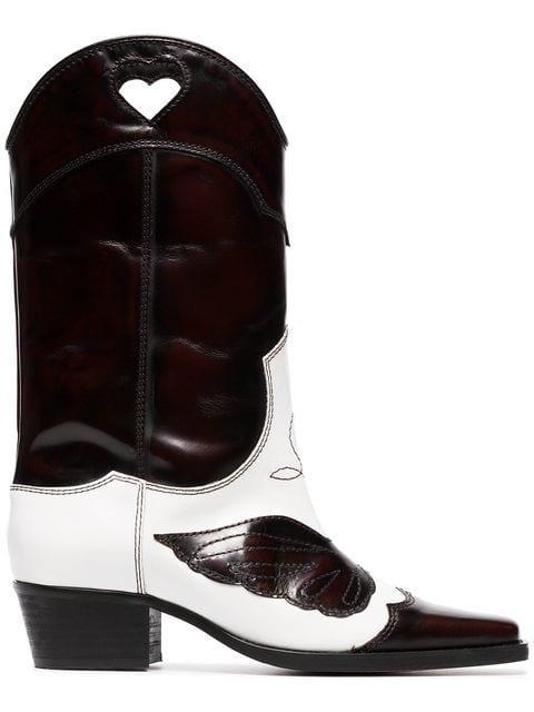 Ganni White And Dark Brown Marlyn 45 Leather Cowboy Boots - Farfetch