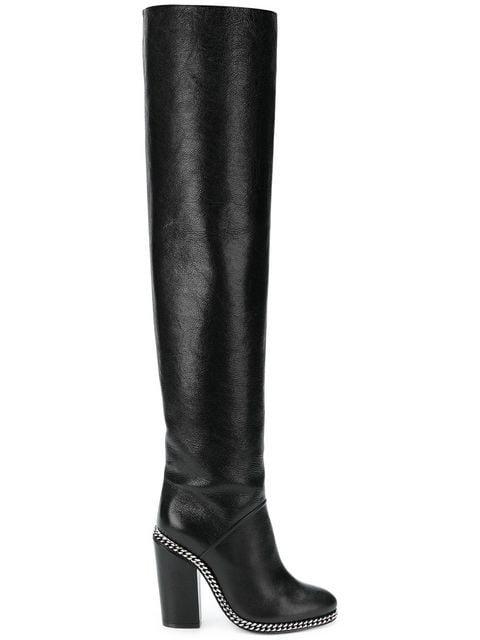 Balmain Chain Trim Knee Boots - Farfetch