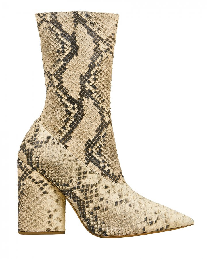 Snakeskin-Embossed Stretch Boots