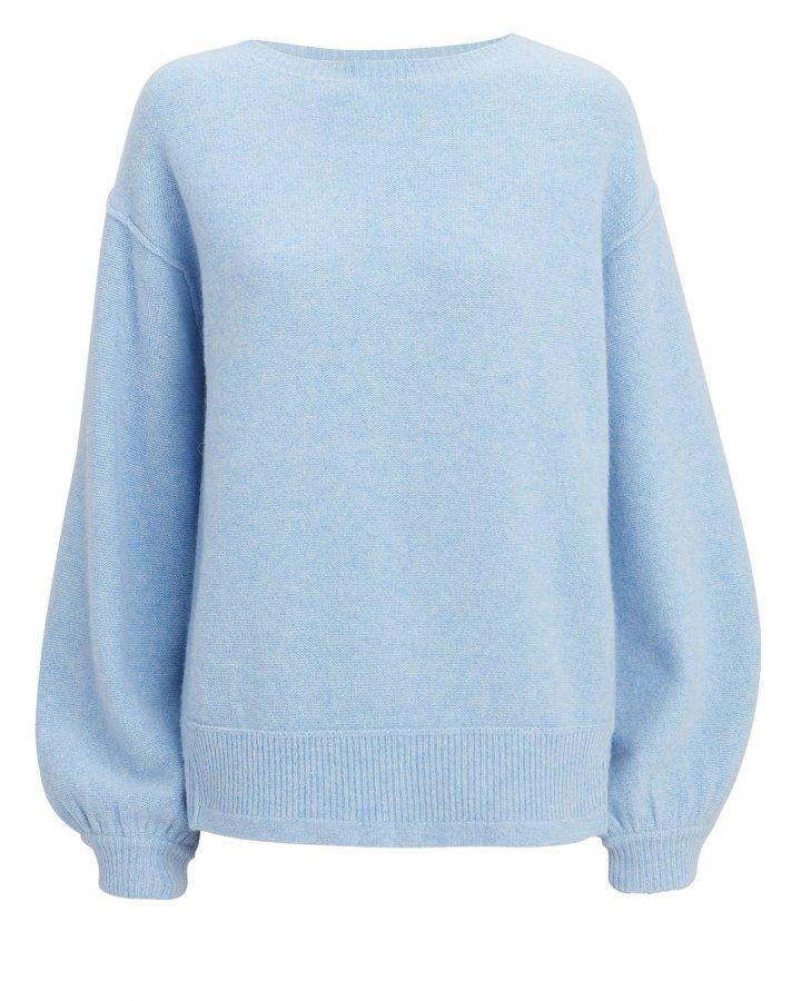 Balloon Sleeve Pullover Blue Sweater