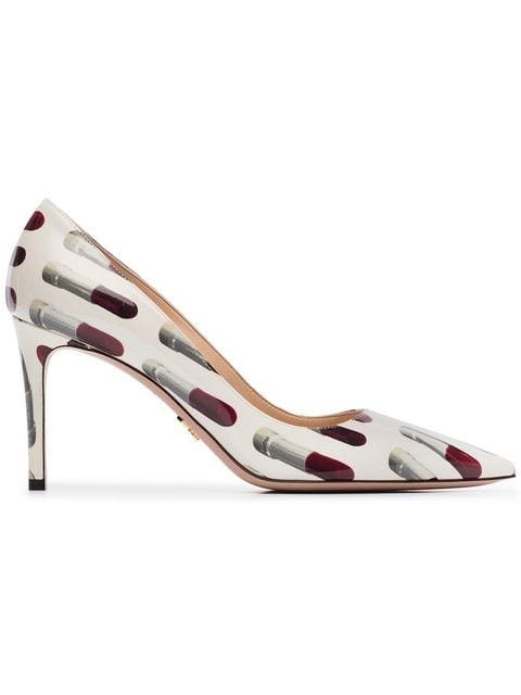 Prada Ivory And Red Print 85 Patent Leather Pumps - Farfetch