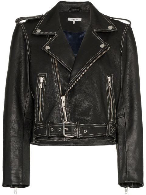 Ganni Angela Leather Biker Jacket - Farfetch