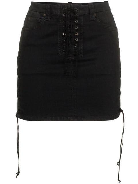 Unravel Project Lace Up Cotton Mini Skirt - Farfetch