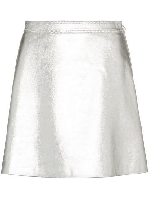 Moschino High Waist A-line Leather Mini Skirt  - Farfetch