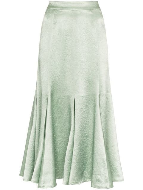 Sies Marjan Holly High Waisted Satin Midi Skirt  - Farfetch