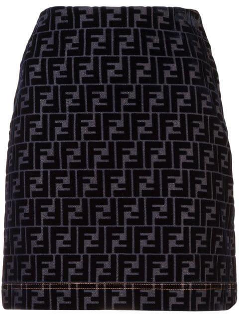 Fendi Monogram Patterned Denim Skirt - Farfetch