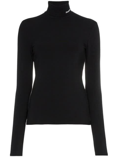 Calvin Klein 205W39nyc High Neck Logo Embroidered Cotton Blend Top - Farfetch