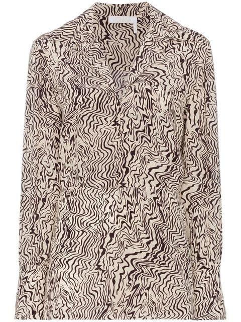 Chloé Wave Print Silk Shirt - Farfetch
