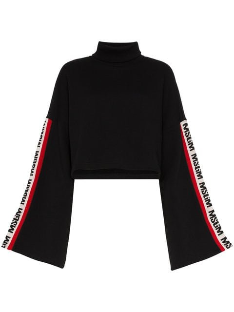 MSGM Black Side Stripe Logo Sweater - Farfetch