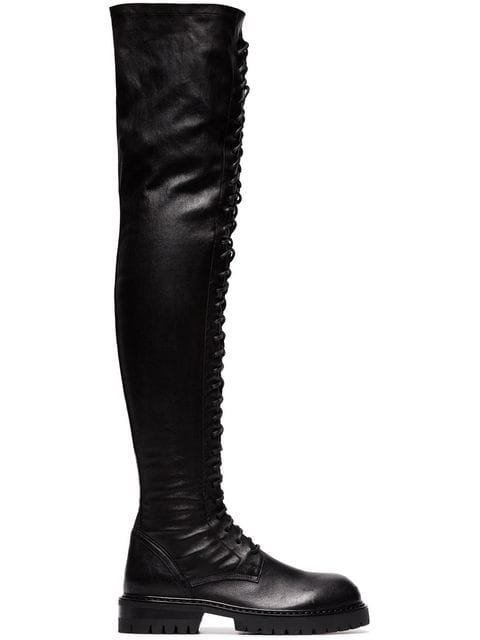 Ann Demeulemeester Knee-length Lace-up Leather Boots - Farfetch