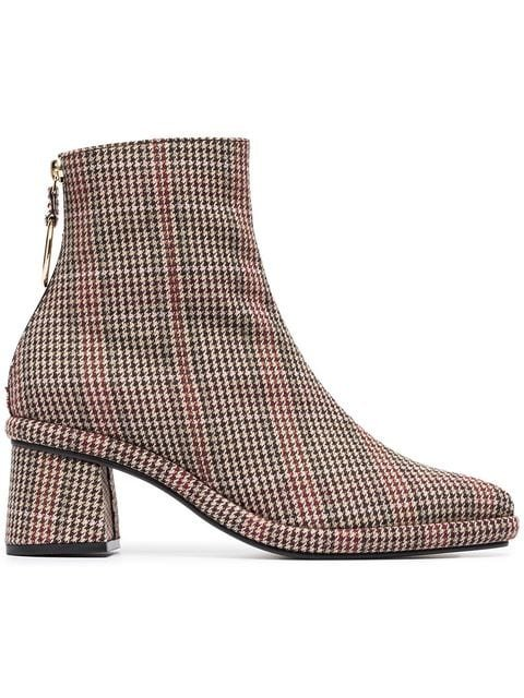 Reike Nen Brown, Red And Black Check 80 Leather And Wool Ankle Boots - Farfetch