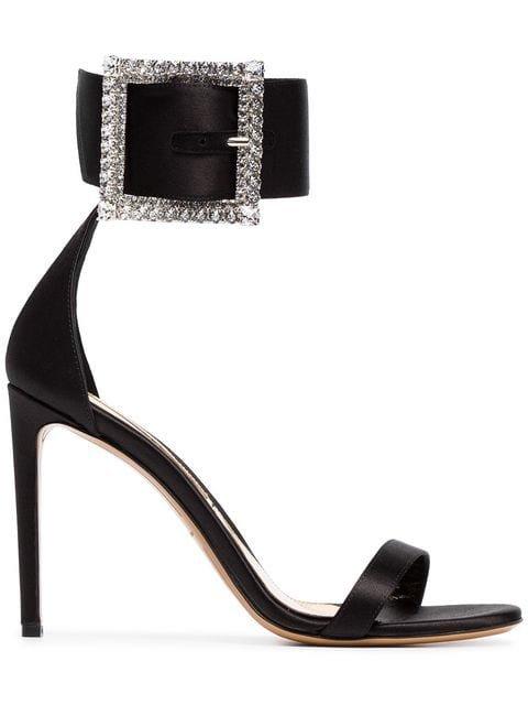 Alexandre Vauthier Yasmin 100 Silk Crystal Buckle Sandals - Farfetch