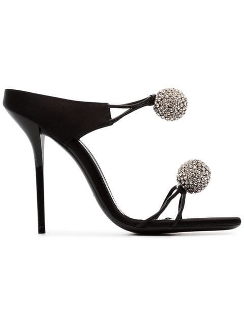 Saint Laurent Pierre 110 Satin And Leather Crystal Ball Shoes - Farfetch
