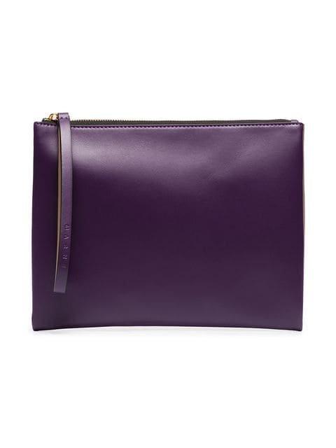Marni Tan And Purple Colour Block Leather Pouch - Farfetch