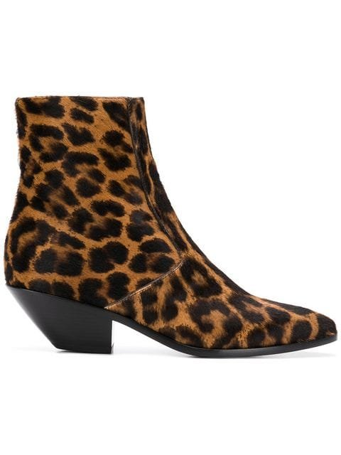 Saint Laurent Leo Animal-print Ankle Boots - Farfetch