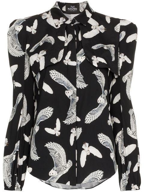 Navro Owl Print Silk Blend Shirt - Farfetch