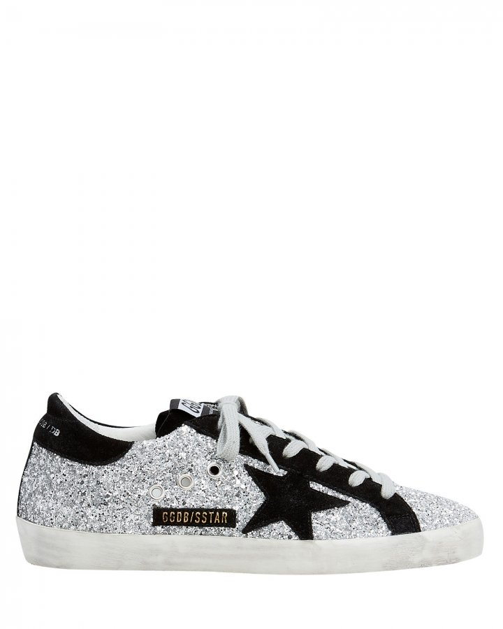 Superstar Suede Star Glitter Low-Top Sneakers