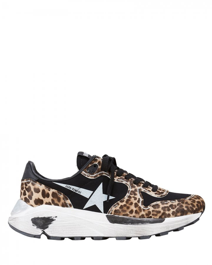 Leopard White Star Running Sneakers