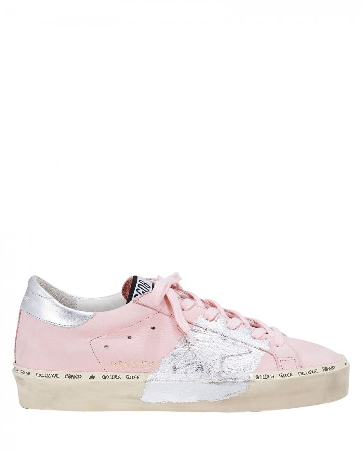 Hi Star Silver Paint Pink Leather Low-Top Sneakers