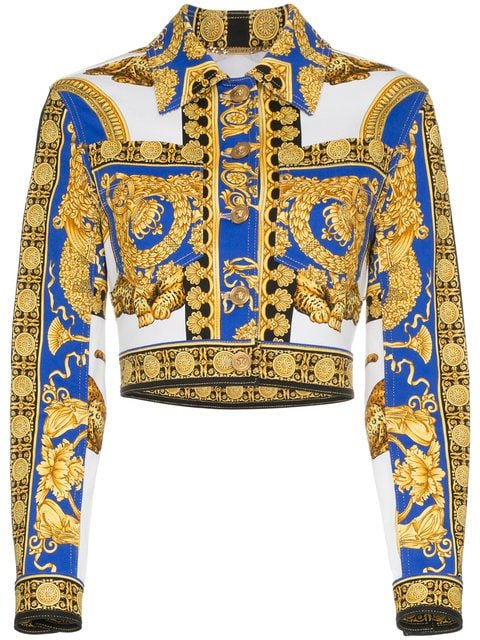Versace Pillow Talk Print Cropped Denim Jacket - Farfetch