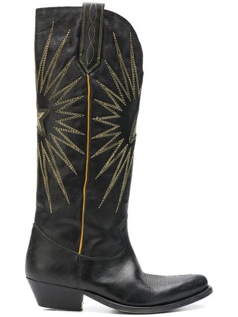 Golden Goose Deluxe Brand Black Knee Length Embroidered Boots  - Farfetch