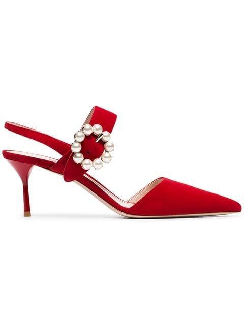Miu Miu Red Pearl Embellished 65 Suede Leather Mules - Farfetch