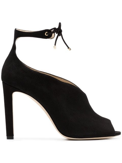 Jimmy Choo Black Sayra 100 Suede Open Toe Booties - Farfetch