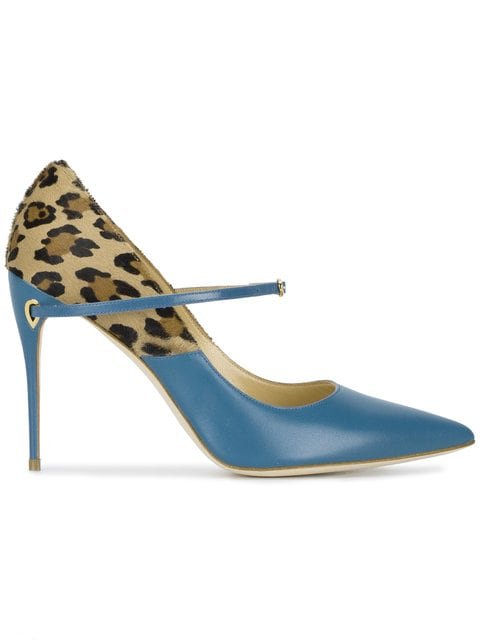 Jennifer Chamandi Blue Leopard Lorenzo 105 Leather Pumps - Farfetch