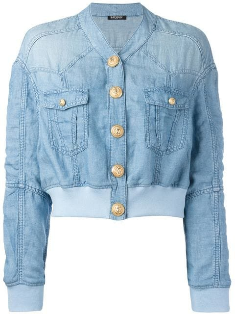 Balmain Cropped Washed Denim Jacket - Farfetch