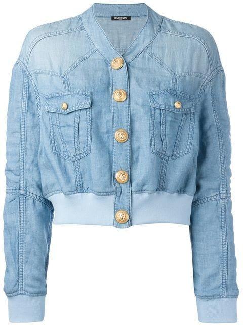 Balmain Cropped Washed Denim Jacket - Farfetch
