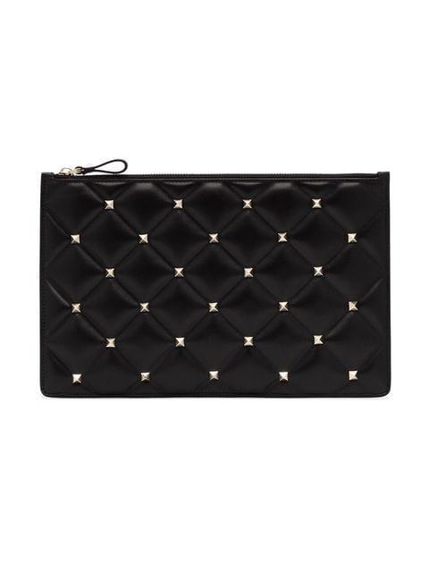 Valentino Black Rockstud Large Leather Clutch - Farfetch