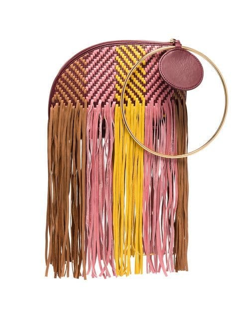 Roksanda Pink, Yellow And Brown Eartha Woven Bracelet Leather Bag - Farfetch