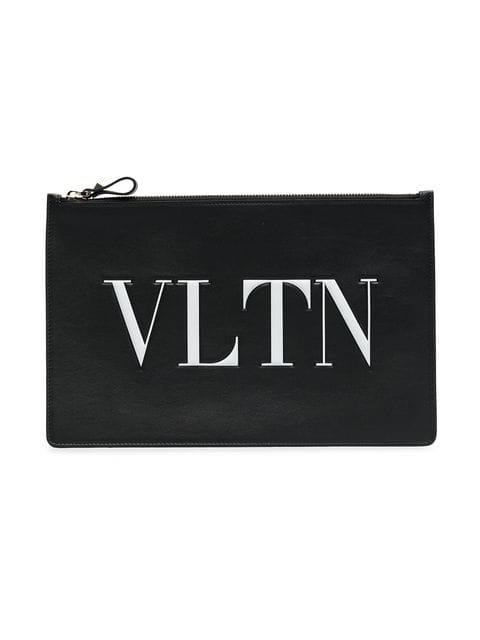 Valentino Black Large Logo Print Leather Pouch  - Farfetch