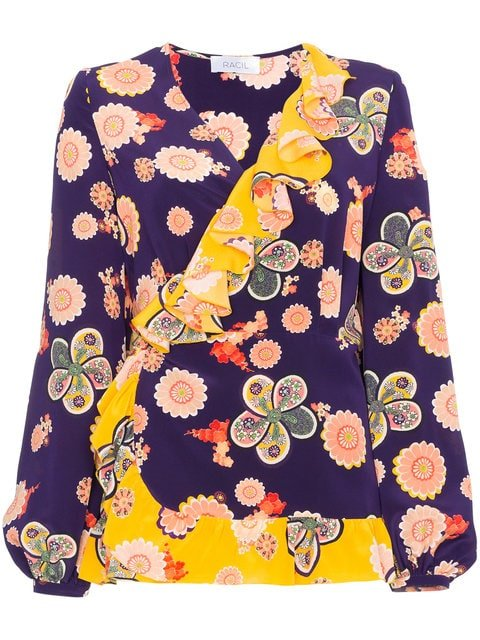 Racil Silk Floral Wrap Top - Farfetch
